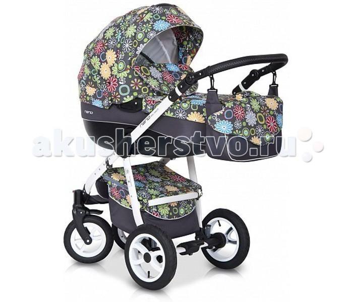 Коляска Riko Nano Flower collection 3 в 1Nano Flower collection 3 в 1Элегантная коляска с неповторимым дизайном для детей от рождения до 3-х лет. Многофункциональная транспортная система Riko Nano 3 в 1, обеспечивающая комфорт и безопасность на прогулках с Вашим ребенком. Детская универсальная коляска изготовлена с использованием высококачественных легких дышащих текстильных материалов, имеет небольшой вес и отличную маневренность на дороге.  Люлька Riko: Просторная пластиковая люлька Обивка и матрасик выполнены из 100% хлопка Верхняя часть из водонепраницаемой ткани Регулируемый подголовник Жесткое дно Можно использовать как люльку-качалку в домашних условиях На капюшоне ручка для переноски Утепленный капюшон с вентиляционным окошком Возможность установки в 2 положениях (лицом к маме , либо лицом по направлению движения) Размеры внутренние: длина 80 см, ширина 37 см, высота 22 см. Вес 5.2 кг  Прогулочный блок Riko: Четыре положения регулировки спинки , вплоть до лежачего Регулируемая подножка Пятиточечные ремни безопасности с мягкими плечевыми накладками Съемный бампер Утепленный чехол на ножки Возможность установки в 2 положениях (лицом к маме , либо лицом по направлению движения) Размеры сиденья: ширина 32 см, глубина 25 см, высота спинки 41 см, длина подножки 18 см. Вес 5.2 кг.  Детское автомобильное кресло Riko: Вес ребенка От 0 до 13 кг (группа 0+) Соответствует европейскому стандарту безопасности ЕСЕ R44/04 Устанавливается в автомобиле при помощи штатных ремней безопасности Положение в автомобиле: спиной вперед (делается для того, чтобы при резком торможении автомобиля ребенок не повредил еще не окрепшую шейку) Трехточечные ремни безопасности с мягкими плечевыми накладками Удобная форма автокресла позволяет совершать длительные поездки Оборудовано специальными ножками для укачивания, что позволяет использовать автокресло как качалку Обивка снимается и стирается при температуре 30 градусов в режиме деликатной стирки Размеры ГхШхВ 65х56х58 см Вес: 3 кг  Шасси R