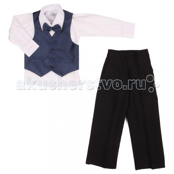 Rodeng Комплект праздничный HW14041Комплект праздничный HW14041Очаровательный костюм от торговой марки Rodeng создан специально для маленьких джентльменов.   Комплект состоит из сорочки, брюк, жилета и бабочки. Классическая белая рубашка имеет свободный крой и не сковывает движений ребенка. Ее длинные рукава дополнены манжетами, которые регулируются по ширине с помощью пуговиц.   Классические прямые брюки выполнены в черном цвете. Они имеют широкий пояс с удобными застежкой-молнией и пуговицей, которые надежно фиксируют изделие на талии, обеспечивая отличную посадку по фигуре.  Красивый жилет выполнен из темно-синего в точечку материала и отлично гармонирует с другими деталями костюма. Последним штрихом в образе маленького джентльмена является галстук-бабочка в тон жилету.   Костюм-тройка с аксессуаром сшит из практичного полиэстера, поэтому он хорошо пропускают воздух, почти не мнется и не теряет форму после стирки, что очень важно для маленьких непосед.  Материал: 100% полиэстер. Уход: ручная или машинная стирка при температуре воды не выше 30 °С.<br>