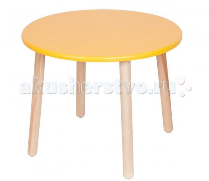 РусЭкоМебель Стол круглыйСтол круглыйСоздателями стола округлой формы считаются древние египтяне, которые использовали этот предмет мебели исключительно для приема пищи. Многие детские сады в настоящее время размещают их в столовых, потому что за прямоугольными столиками малышам нравится обедать и ужинать гораздо меньше. Совершенно другие эмоции вызывают яркие, разноцветные столы круглой формы. Они делают любое занятие интересным и дарит ребенку массу светлых эмоций.   Особенности: Возраст от 1 до 7 лет. Назначение: занятия, творчество Материал: дерево (береза) Окрас: Эко-краска Высота: 52 см. Диаметр: 60 см. Вес: 5,4 кг. Выдерживает: 100 кг. Крепление ножек: метало-пластик<br>
