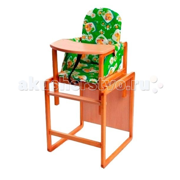 Стульчик для кормления Вилт АлексАлексСтульчик-трансформер для кормления Вилт Алекс легко трансформируется в стол и стул. Рассчитан на детей от 6-ти месяцев.   Особенности:   Собирается просто и быстро с помощью саморезов. Изготовлен из натуральной сосны, все материалы гипоаллергенны и совершенно безопасны для ребенка.  Чехол: бязь, поролон 2 см, мягкие подлокотники: Стульчик отличается высокой прочностью и удобством.  Комфортное сидение со специальными ремнями обеспечат безопасность ребенку.  А если убрать столешницу, то конструкция превратится в отдельные столик и стульчик.  Цвета чехлов в ассортименте: бежевый, голубой, розовый, салатовый  Размер: 50 &#215; 50 &#215; 100 см<br>