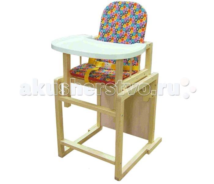 Стульчик для кормления Russia АнтошкаАнтошкаСтул-стол «Антошка» предназначен для детей от 6 месяцев до 3 лет.  Основные конструктивные элементы изделия изготавливаются из массива сосны. Для покраски используются экологически чистые и безопасные лаки на водной основе. Столешницы стола и стула выполнены из ЛДСП разнообразных цветов. Съемная столешница-подносик может быть установлена в двух положениях, размер подносика 430 х 320 мм. Стул оснащен упорами заднего опрокидывания и страховочным ремешком, предотвращающими падение ребенка. Съемный мягкий чехол для сиденья и спинки: - Цельнокроеный чехол шьется из ткани Dewspo с водоотталкивающей пропиткой. - Материал не впитывает влагу, имеет приятную на ощупь фактуру. Для пошива используются ткани различных ярких расцветок. - Мягкие поролоновые вкладыши при необходимости можно вынимать из чехла. - Допускается ручная и машинная стирка чехла при температуре воды 40°.<br>