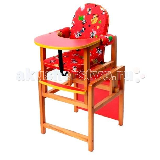 Стульчик для кормления Russia КсенияКсенияСтол — стульчик Ксения — это комплект для кормления ребенка. Удобная столешница гарантирует абсолютную безопасность малышу. Ему понравится гладкая и цветная поверхность стола. Сиденье покрыто цветной водоотталкивающей тканью. Съемный чехол удобен в уходе. Модель легко трансформируется в парту и удобный стульчик, чтобы ребенок смог самостоятельно играть, рисовать и лепить. Ламинированная поверхность столешницы легко протирается, не задерживая остатки пищи. Натуральное дерево сохраняет на годы красивый вид и прочность.  Особенности:   Прочная конструкция легко раскладывается Съемный регулируемый столик Трансформируется в стол со стульчиком Мягкое сиденье и подлокотники Ремни безопасности Простота установки и эксплуатации Привлекательный, современный дизайн Чехол из водоотталкаивающей ткани Столешница: красное, лакированное дерево<br>