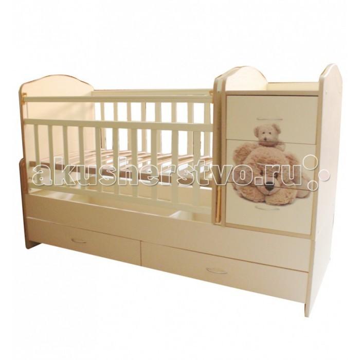 Кроватка-трансформер Папа Карло Мишки (поперечный маятник)Мишки (поперечный маятник)Кровать-трансформер с маятниковым механизмом Папа Карло Мишки.  Эта мебель, которая помогает экономить время и место. Изготовленная из качественных и надежных материалов, она прослужит долгие годы.   Из кроватки для младенцев ее легко переделать в небольшой диван или обычную кровать для ребенка. Сбоку встроен удобный комод на 3 ящика, снизу – 2 ящика для игрушек, сверху – пеленальный столик.  Тип - Трансформер ПВХ-накладки Количество положений дна - 2 положения Передняя стенка  опускается С маятниковым механизмом качания Пеленальный столик Ящики для белья Для матраса размером 120х60, 160х60 см  Длина  174 см Ширина  65 см Высота 84 см<br>