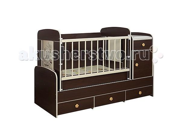 Кроватка-трансформер Glamvers MultyMultyКровать Multy 3 в 1 для детей от 0 до 14 лет. Кроватка трансформируется в подростковую кровать (размер 1600х700)+стол+комод.  В комплекте матрас(кокос+холлофайбер 8см)+пеленальный столик.  Особенности: кровать-трасформер 3 в 1,материал ЛДСП+бук в комплект входит - матрас+пеленальный столик маятниковый механизм качания решетка опускается- несколько положений  силиконовые накладки  два уровня положения ложа возможность установить комод как лева так и справа кровать для подростка 14 лет   Размер кроватки для новорожденных: 110х60 Размер кроватки для подростков : 160х70<br>