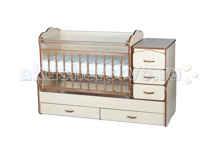 Кроватка-трансформер Yarri Оле Лукойе (маятник)Оле Лукойе (маятник)Детская кроватка-трансформер Yarri Оле Лукойе сочетает в себе кроватку для новорожденного, подростковую кровать и трансформируется в письменный стол.   Характеристики:  - Кроватка для новорожденного, которая со временем трансформируется в подростковую кровать и столик-парту! - Детская кроватка с маятниковым механизмом поперечного качания, (маятник оборудован прочным стопором, поэтому малыш не сможет сам раскачать кроватку); - Ложе кроватки реечное, что способствует ортопедическому эффекту и обеспечивает отличную вентиляцию для матраса;  - 2 уровня крепления боковины; - Ложе регулируется на 4 уровня по высоте; - На боковых стенках кроватки предусмотрены защитные накладки; - Выдвижные ящики для хранения детских вещей: 3 в комоде и 2 под днищем; - Задняя стенка кроватки создана в виде фигурной монолитной плиты, что исключает возможность сквозняков, а также создает ребенку ощущение уюта и безопасности. При этом в плите предусмотрены отверстия для крепления защитного бортика (в дальнейшем на отверстия ставятся заглушки, которые входят в комплект); - По мере роста Вашего малыша кроватка трансформируется в подростковую кровать (ложе кроватки становится 170х60см) и отдельно стоящую стол-парту с 3 ящиками; - В отличие от схожих моделей, преобразуется в полноценный письменный стол стандартных размеров, подходящий даже для школьника (сходные модели трансформируются в очень маленький столик); - Кровать-трансформер Вилли-Билли служит ребенку от рождения до 12 - 14 лет; - Комод можно установить слева или справа по Вашему выбору. При этом переставить комод просто, не нужно перебирать всю кровать;  Размеры ложа для новорожденного малыша (под матрас): 120х60 см. Спальное место для подростка: 170х60 см. Размеры комода: 40х60 см. Материал: береза + безопасное ДСП. Внешние размеры кровати с комодом: 174х68х107.5  Внешние габариты комода: 43х69х67  Внешние габариты подростковой кровати: 174х60х65 Спальное место: 170х60  