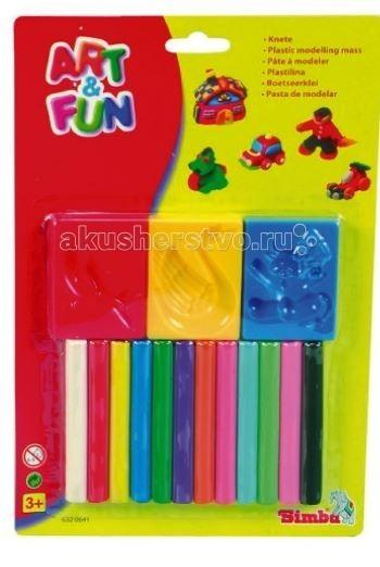 Simba Art&amp;Fun 12 цветов с формочкамиArt&amp;Fun 12 цветов с формочкамиПластилин Simba Art&Fun с аксессуарами 12 цветов  В комплект входят 3 формочки и 12 цветрв пластилина  Легко разминается, не прилипает к рукам, не пачкает одежду. Застывает на открытом воздухе через 24 часа.<br>