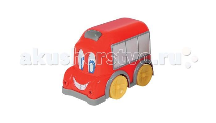 Simba Автобус с движущимися глазамиАвтобус с движущимися глазамиSimba Машина Автобус с движущимися глазами создан специально для самых маленьких детей, чтобы побуждать их к двигательной активности. Автобус выполнен в ярких красках. У него есть белые окошки, на которые вы при желании можете купить и приклеить наклейки пассажиров. При движении, у автобуса смешно двигаются глаза. А если нажать на кнопку сверху, то заиграет мелодия и загорятся фары. Кнопку легко нажать даже маленькому ребенку.  Особенности:  Стимулируется двигательная активность ребенка. Он с удовольствием будет ползать, делать первые шаги вслед за автобусом За счет яркой цветовой гаммы автобуса с движущимися глазами со светом и звуком от АБЦ Симба у ребенка совершенствуется цветовосприятие.  Развивается мелкая моторика рук Обогащается словарный запас ребенка  В игре можно изучить названия деталей автобуса, названия цветов и т.п.  В игровой форме можно продолжить обучение ребенка счету: сосчитать окошки, колесики и т.п. Развивается музыкальный слух При движении двигаются глаза При нажатии на кнопку, автобус с движущимися глазами в ассортименте от АБЦ Симба издает звуки, у него светятся фары Колеса пластмассовые, автобус широкий и устойчивый<br>