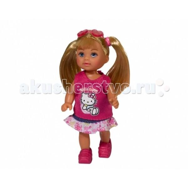 Simba Кукла Еви Hello KittyКукла Еви Hello KittyКукла Еви Simba Hello Kitty - милая куколка с длинными волосами, которые можно расчесывать, создавая разнообразные причёски непременно понравится вашей малышке.    Особенности:    Кукла сделана из высококачественного пластика  Руки и ноги куколки подвижны, куколку можно сажать  Волосы Еви можно расчесывать, делать различные прически  Вся одежда легко снимается, куколку можно переодевать  Благодаря своей компактности, ее можно брать в дальнее путешествие  Играя с куклой, ваша девочка придумает множество сюжетно-ролевых игр  В игре будут развиваться творческие способности, фантазия, воображение и артистические навыки, а также внимательность, мелкая моторика и координация движения рук   Высота куклы 12 см<br>