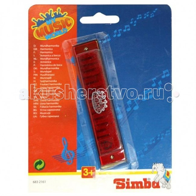 Музыкальная игрушка Simba Губная гармошкаГубная гармошкаМузыкальная игрушка Simba Губная гармошка - 16-голосная губная гармошка в прозрачном дизайне.  Она развивает у ребенка слуховое и цветовое восприятие, моторику рук и память. Инструмент сделан из прочного и качественного пластика.  Размер: 13 см<br>