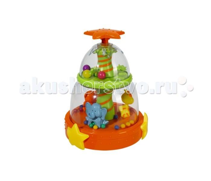 Simba Юла со звуковыми эффектамиЮла со звуковыми эффектамиМузыкальная юла Simba с тремя зверушками (жирафик, слоник и тигренок) и яркими шариками порадует вашего ребенка.  Юла со звуком – замечательный тренажер для пальчиков и координации движений малыша. Что бы привести в движение игрушку, достаточно приподнять ручку вверх и резко опустить.  При движении, карусель внутри начинает вращаться, а вместе с ней и маленькие зверушки. Прокручиваясь, юла издает забавную и приятную мелодию. Восторгу ребенка не будет предела.  Наличие батареек: в комплекте. Тип батареек: 3 х AAA / LR03 1.5V (мизинчиковые). Из чего сделана игрушка (состав): высококачественная пластмасса, металл. Размер игрушки: 18 х 13 см.<br>
