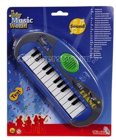 Музыкальная игрушка Simba Мини-пианиноМини-пианиноМузыкальная игрушка Simba Мини-пианино  Замечательная игрушка, чтобы приобщить ребенка к миру музыки. Можно не только играть, но и сочинять музыку.   В инструменте 23 клавиши с помощью которых можно играть приятные мелодии.  Батарейки: 2 х АА/LR6 1,5V (входят в комплект) Размер: 25 см<br>