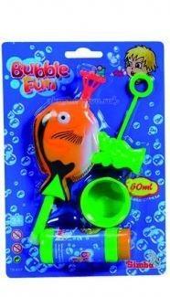Simba Мыльные пузыри Bubble Fun 60 мл с пистолетомМыльные пузыри Bubble Fun 60 мл с пистолетомМыльные пузыри Simba Bubble Fun с пистолетом  В комплект входит пистолет в виде морского обитателя и пузырек с 60 мл мыльного раствора  Многие детишки любят наблюдать, как выпускаемые ими мыльные пузыри разлетаются в разные стороны, подгоняемые ветром.   Мыльный раствор нетоксичен, он не вызывает у детей раздражение и аллергию.<br>