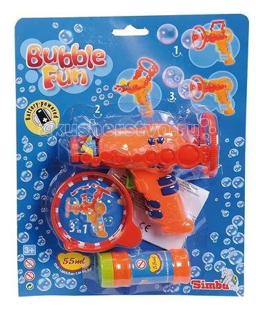 Simba Набор мыльных пузырей Bubble Fun 55 мл с пистолетомНабор мыльных пузырей Bubble Fun 55 мл с пистолетомНабор мыльных пузырей Simba Bubble Fun с пистолетом   В наборе:    пузырек с мыльным раствором,   пистолет,   3 насадки, для выдувания пузырей разных размеров.    Для работы требуются батарейки: 1 х AA / LR6 1.5V (пальчиковые).  Многие детишки любят наблюдать, как выпускаемые ими мыльные пузыри разлетаются в разные стороны, подгоняемые ветром.   Мыльный раствор нетоксичен, он не вызывает у детей раздражение и аллергию.<br>