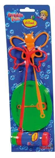 Simba Набор мыльных пузырей Bubble Fun 60 млНабор мыльных пузырей Bubble Fun 60 млНабор мыльных пузырей Simba Bubble Fun 60 мл  Многие детишки любят наблюдать, как выпускаемые ими мыльные пузыри разлетаются в разные стороны, подгоняемые ветром.    В наборе №1:    пузыри,   емкость,   одна маленькая форма для выдувания,   два инструмента в виде бабочек.    В наборе №2:    пузыри,   тарелочка,   форма для выдувания,   четыре разноцветных ключа  три большие формы - круг, сердце и звездочка.    В наборе №3:    пузыри,   две тарелочки,   две спиралеобразные трубочки для выдувания.    В наборе №4:    пузыри,   инструмент для выдувания,   две мини-ракетки для бадминтона, через которые так же можно выдувать множество мелких пузырей.   Мыльный раствор нетоксичен, он не вызывает у детей раздражение и аллергию.<br>