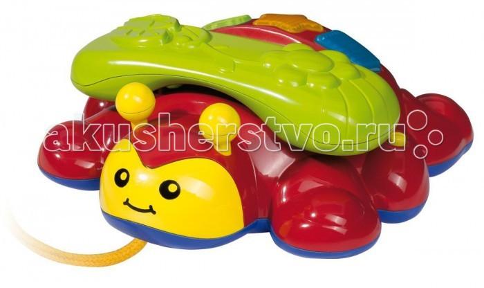 Simba Телефон-каталкаТелефон-каталкаТелефон-каталка Simba предназначен для малышей от 12 месяцев.   При нажатии на кнопочки, будет раздаваться веселая мелодия. А если снять трубку, она будет вибрировать. Также ребенок может использовать этот телефон, как каталку (в комплект входит веревочка).<br>