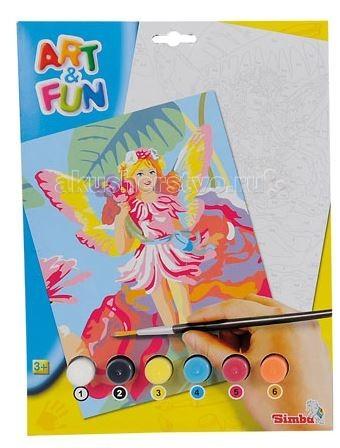 Раскраска Simba Раскраска по номерам Art&amp;Fun 6 цветовРаскраска по номерам Art&amp;Fun 6 цветовРаскраска по номерам Simba Art&Fun  Такой набор понравится любому ребёнку, который любит рисовать и хочет стать настоящим художником.  В рисовании по номерам нет ничего сложного. На бумаге уже нанесён рисунок, который нужно раскрасить. На рисунке нанесены цифры, каждой из которых присвоен свой номер.    В наборе:    фактурный картон с контуром рисунка,  6 цветов акриловых красок,  кисть,  палитра,  контрольный лист со схематичным  изображением картины (эльф или единорог).<br>