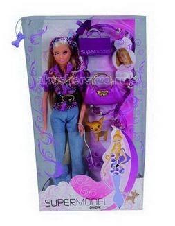 Simba Кукла Штеффи пурпурная супермодельКукла Штеффи пурпурная супермодельКукла Simba Штеффи пурпурная супермодель станет идеальным подарком любой девочки.   Штеффи отправилась на прогулку со своей маленькой собачкой. В ее одежде и аксессуарах очень много фиолетового цвета, который так актуален в этом сезоне. Также в комплекте есть ожерелье на шелковой веревочке для маленькой девочки.   Особенности:    Изготовлена из безопасных для малышей компонентов пластмассы и ткани  Универсальные размеры куклы позволяют переодевать ее в другие различные костюмы  Ручки и ножки куклы можно двигать и сгибать, придавая ей различные положения. Ноги Штеффи имеют шарниры в коленях   Размер: 29 см<br>