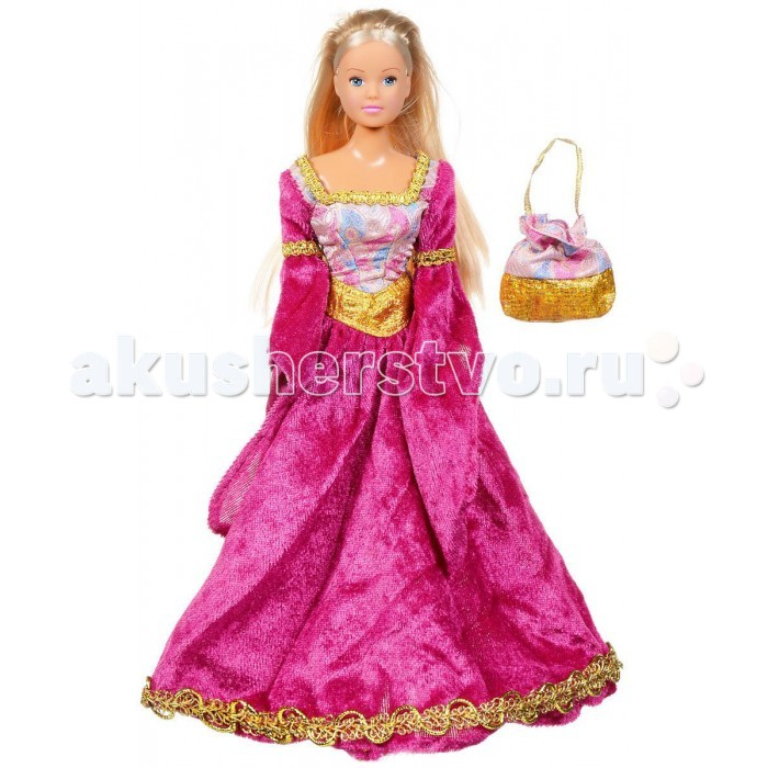 Simba Кукла Штеффи в СредневековьеКукла Штеффи в СредневековьеКукла Simba Штеффи в Средневековье - это чудесная куколка, которая обладает милым личиком и очаровательной внешностью.   Штеффи благородная девица, в вельветовом платье с дамской сумочкой.    Особенности:    Изготовлена из безопасных для малышей компонентов пластмассы и ткани  Универсальные размеры куклы позволяют переодевать ее в другие различные костюмы  Ручки и ножки куклы можно двигать и сгибать, придавая ей различные положения   Размер: 29 см<br>
