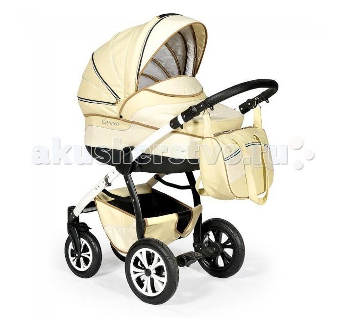 Коляска Indigo Carmen S 2 в 1Carmen S 2 в 1Коляска детская Slaro Carmen S 2 в 1 понравится родителям, которые с самых первых дней стремятся окружить своего малыша качественными и безопасными предметами. Модель выполнена из мягкой эко-кожи, не подверженной воздействию влаги, устойчивой к сильным морозам и яркому солнечному свету. Весь модельный ряд Slaro Carmen S 2 в 1 представлен нежными натуральными оттенками, идеально подходящими для детей любого пола. С коляской Сларо Кармен С 2 в 1 каждая прогулка станет приятным и интересным занятием не только для крохи, но и для его родителей.  тип: универсальная коляска зима–лето возрастная категория: 0-36 месяцев компактные габариты в сложенном виде красивый классический дизайн и цветовые решения в светлых натуральных тонах основной материал: морозоустойчивая эко-кожа, не подверженная воздействию влаги и солнца аксессуары: сумка для мамы (крепится на ручку при помощи карабинов или широкого ремня), дождевик, москитная сетка, утепленные чехлы, матрасик в люльку, корзина для покупок.  Люлька: корпус люльки отлит из цельного прочного пластика, что гарантирует легкость и необходимую жесткость для осуществления ортопедического действия продуманная система внутренней вентиляции высокие бортики хорошо защищают младенца от ветра блок устанавливается на раму в обоих направлениях капюшон: многоступенчатая конструкция, бесшумное сложение, дополнен козырьком, встроенной ручкой для переноски, смотровым окошком сверху внутренняя отделка: гипоаллергенный, приятный на ощупь хлопок внутренняя обивка съемная, крепится при помощи молний регулируемый подголовник утепленный чехол с высоким защитным бортиком изогнутое основание позволяет использовать люльку как самостоятельную качалку-колыбель  Прогулочный блок: удобное мягкое сидение эргономичной формы сидение может быть установлено на раму в двух направлениях: по ходу движения и против движения (установка занимает несколько секунд) дополнительная защита ребенка внутри коляски: бампер-ограничител