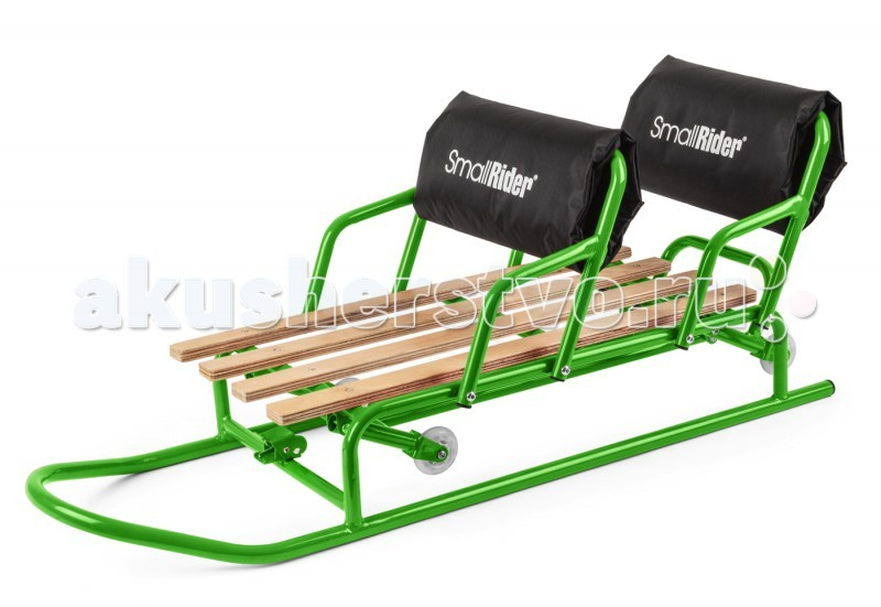 """Санки Small Rider Snow Twins для двойни с колесикамиSnow Twins для двойни с колесикамиСанки для двойни с колесиками Snow Twins (педальный механизм).  Санки имеют очень удобную конструкцию и необычную функциональность для преодоления участков без снега (например, где голый асфальт). Вы сможете переключиться в режим """"колеса"""" и легко их проехать. Для этого нужно лишь нажать ногой специальную педаль. А потом, когда Вы доберетесь до заснеженной поверхности, снова переключиться в режим полозьев и скользить до точки назначения.   Удобная и надежная конструкция санок паровозиком крайне важна для двойняшек.  Санки сделаны по типу паровозика, когда дети сидят друг за другом и могут вместе съезжать с горки. Это крайне удобно и безопаснее по сравнению с другими санками, где дети сидят только лицом к лицу. Это настоящий санимобиль для двоих детей и двойняшек.  Повышенный комфорт.  Для поддержки спины у санок """"Small Rider Snow Twins"""" предусмотрены не только большие и надежные спинки, но и мягкие чехлы на них. Благодаря мягкому чехлу каркас спинки не будет болезненно упираться в спины детишек. Также чехлы дополнительно защищают от холода.   Что еще важно - по бокам у санок имеются подлокотники, которые помогут удержаться на крутых виражах и не дадут детям вывалиться в бок. Для транспортрировки на горку, конечно же, в комплекте идет веревка-трос.<br>"""