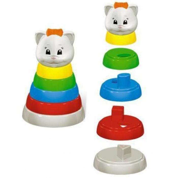 Развивающая игрушка Стеллар Пирамидка ЗатеяПирамидка ЗатеяРазвивающая игрушка Стеллар Пирамида Затея из пяти разноцветных колец, завершающим звеном является головка чудесного котика.   Привлекает яркостью цвета. Форма удобна и безопасна для малыша.   В процессе игры ребенок знакомится с основными цветами, получает представление о различных размерах предметов, учится соотносить и сравнивать предметы по этим признакам.<br>