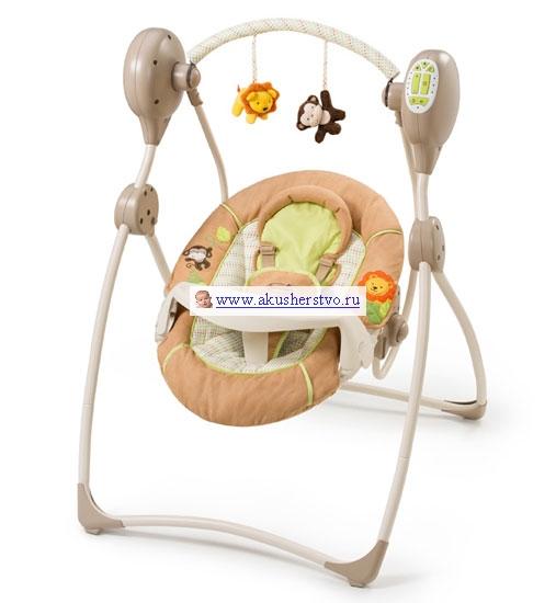 Качели электронные Summer Infant Swingin SafarySwingin SafaryКачели электронные Summer Infant Swingin Safary от 0 до 13.5 кг. - это надежное и безопасное место для отдыха малыша.   Особенности: Успокаивающие колыбельные, звуки природы и сердцебиения, а также нежное покачивание (5 скоростей) помогут успокоить ребенка Имеется 20 минутный таймер Легко складывается, поэтому удобно брать даже в путешествия. Большое и мягкое спальное место люльки оборудовано съемной поддерживающей подушкой для головы, 5-точечным ремнем и подставкой для еды Спальное место фиксируется в нескольких позициях Две съемные игрушки в комплекте Благодаря нейтральной расцветки люлька хорошо подойдет к любой детской комнате  Размеры (дхшхв): 83 х 68 х 105 см<br>