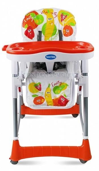 Стульчик для кормления Sweet Baby FruttoFruttoКормление ребенка будет куда проще и приятней, если у вас есть стульчик Sweet Baby Frutto! Удобный и функциональный, а еще практичный и качественный, он станет универсальным решением!  Характеристики Sweet Baby Frutto: Красивый и яркий стульчик очень нравится деткам Сидение стула Sweet Baby может быть расположено на разной высоте: всего предусмотрено 5 уровней Есть регулируемые 5-точечные ремни безопасности Спинка регулируется в 3х положениях Съемный поднос с подстаканниками может фиксироваться в 3х положениях. Можно мыть в посудомоечной машине Стульчик для кормления имеет 4 колесика для простого перемещения конструкции, даже если в ней находится ребенок. Если нужно, колесики можно заблокировать стопором Есть небольшая корзина для всевозможных полезных мелочей Пластиковый разделитель между ног позволяет предотвратить соскальзывание ребенка, когда он не пристегнут ремнями безопасности В сложенном виде конструкция занимает очень мало места, что удобно при хранении или транспортировке<br>