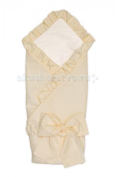 Тайна Снов Конверт-одеяло на выписку ВанильКонверт-одеяло на выписку ВанильКонверт-одеяло на выписку Ваниль из полотна микрофибры, отделанный рюшами. Изделие утеплено синтепоном. Декорирован конверт рюшами и красочным бантом.  Легкий одеяло-конверт на выписку из роддома Верхняя ткань - микрофибра Подкладка: трикотаж, 100% хлопок Утеплен синтепоном плотностью 60 Отделка рюшами и бантом Размер 88 х 88 см<br>