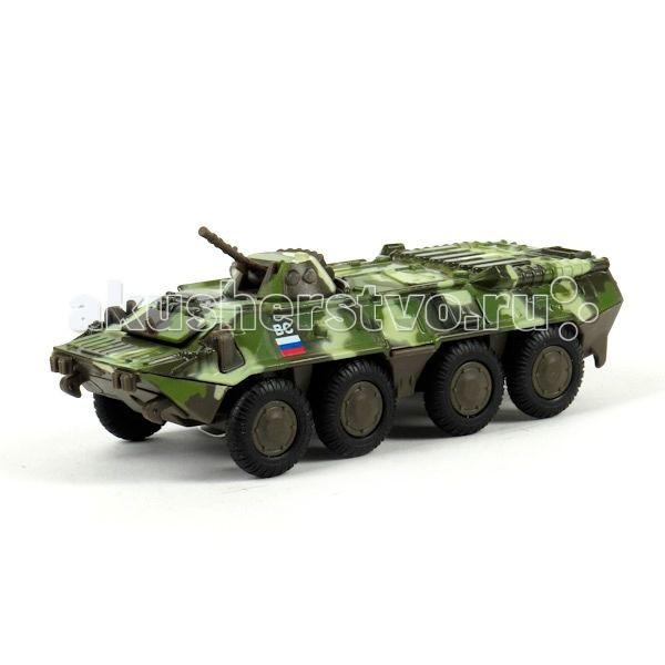 Технопарк Машина БТР 80Машина БТР 80Технопарк Инерционный БТР 80 1:43 со светом и звуком - это меньшенная копия бронетранспортера сделана с высокой степенью детализации. У него поднимается пушка, а также вращается башня. А главное, - он издает звуки выстрела и на корпусе мигают лампочки!   Игра в войнушку с участием этой боевой игрушечной единицы будет просто незабываема. Такая модель будет интересна не только ребенку, но даже его папе или дедушке.<br>