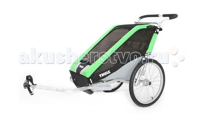 Thule Велоприцеп Chariot Cheetah-1Велоприцеп Chariot Cheetah-1Мультиспортивный велосипедный прицеп-легкая коляска Thule Chariot Cheetah станет отличным помощником для родителей, которые не хотят пропускать тренировки.  С набором для крепления к велосипеду.  Особенности Легкость в использовании благодаря небольшому весу Обтекаемый дизайн идеально подходит для различных видов спорта Изменение высоты руля HeightRight™ для удобства родителей Специальная рейка для крепления аксессуаров Пятиточечные детские ремни безопасности  Грузоподъемность - 34 кг Ширина плеча - 40 см Высота посадки - 68 см Размеры в сложенном виде (Д х Ш х В) - 107 x 61 x 27 см<br>