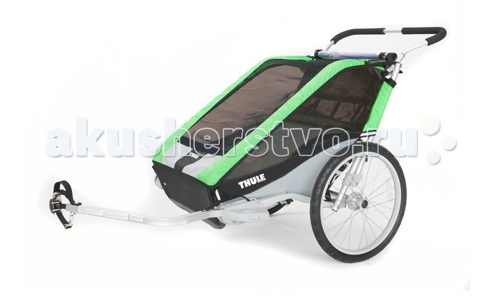 Thule Велоприцеп Chariot Cheetah-2Велоприцеп Chariot Cheetah-2Мультиспортивный велосипедный прицеп-легкая коляска Thule Chariot Cheetah станет отличным помощником для родителей, которые не хотят пропускать тренировки. Благодаря широкому сидению возможна перевозка сразу двух детей. С набором для крепления к велосипеду.  Особенности Легкость в использовании благодаря небольшому весу Обтекаемый дизайн идеально подходит для различных видов спорта Изменение высоты руля HeightRight™ для удобства родителей Специальная рейка для крепления аксессуаров Пятиточечные детские ремни безопасности  Грузоподъемность - 45 кг Ширина плеча - 59 см Высота посадки - 68 см Размеры в сложенном виде (Д х Ш х В) - 107 x 80 x 27 см<br>