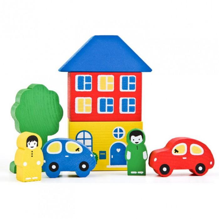 Деревянная игрушка Томик Конструктор Цветной городок 8 деталей