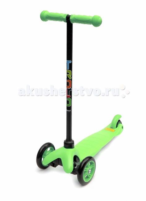 Самокат Trolo Mini (нерегулируемый по высоте руль)Mini (нерегулируемый по высоте руль)Самокат Trolo Mini предназначен для комфортного катания детей от 2 до 5 лет, а при использовании специального О-образного руля с сидением - с 1 года.  Особенности: материал рамы: пластик, стекловолокно; жесткость колес: 82А; резиновые грипсы с защитными наконечниками;  индивидуальная упаковка товара - коробка. в комплекте идут шестигранные ключи. максимальная нагрузка 20 кг возраст: 2 - 5 лет (Внимание! По рекомендациям на упаковке: 3+). 3-х колесный диаметр передних колес 12 см диаметр заднего колеса 7 см колеса полиуретановые тормоз ножной тип руля классический максимальная высота 66 см размеры платформы 32х14 см рост: от 85 см; размеры 55х27х66 см вес 1.5 кг<br>