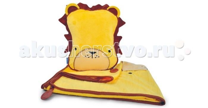 Плед Trunki с подушкой SnooziHedz Animalsс подушкой SnooziHedz AnimalsНабор для путешествий, состоящий из подушки и пледа, обязательно понравится малышу и его родителям. Необходимый аксессуар для поездок в автомобиле, самолете или путешествий на автобусе.  Из мордашки-подушки вынимается уютный мягкий плед, а сама подушка надувается. Набор обеспечит комфорт и тепло на протяжении всей поездки. После поездки также компактно складывается.  Имеет крепеж, позволяющий закрепить между собой плед и подушку, чтоб они не соскальзывали в дороге.  На наружней части пледа имеется карман для игрушки или др. мелочей.  Размеры 26 х 21 х 7,5 см   Вес 300г  Размер одеяла-пледа 70 х 90 см<br>
