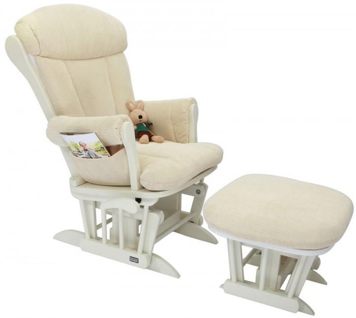 Кресло для мамы Tutti Bambini Rose GC75Rose GC75Кресло-качалка для мамы Tutti Bambini Deluxe GC75 и стульчик для ног покрыты толстой мягкой обивкой, в которую тело погружается, как в теплую ванну. Специальный механизм позволяет креслу и стульчику плавно покачиваться в такт. Мягкие и бесшумные движения снимают напряжение трудного дня, помогают маме убаюкать малыша. Подлокотники не слишком высокие, не слишком низкие: удобная опора для рук во время кормления. Тихо покачивается кресло, малыш уже поел и уснул счастливым сном младенца, но маме не трудно держать его в объятьях, ведь кресло снимает большую часть нагрузки со спины и рук, позволяя ей восстановить силы.   Кресло Tutti Bambini позволит мамам посвятить все внимание малышу, отдохнуть и расслабиться, как на курорте.  Особенности: · Комфортное кресло для кормящей мамы · Cпинка откидывается · Толстая, мягкая обивка · Прекрасная поддержка спины · Стульчик, как и кресло, снабжен маятниковым механизмом · Особый механизм позволяет креслу и стульчику покачиваться в такт · Отделка красным деревом · Эффект синхронного покачивания кресла и стульчика · Удобный стопор: можно легко зафиксировать кресло не вставая · Максимальная нагрузка 100 кг · Гарантия 12 месяцев  Древесина: береза  Ткань обивки: крупный вельвет  РАЗМЕРЫ:  Размеры кресла (д х ш х в): 77 х 65 х 101 cм Размеры стульчика (д х ш х в): 49 х 47 х 34 cм<br>