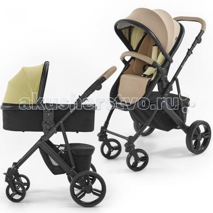 Коляска Tutti Bambini Riviera 2 в 1Riviera 2 в 1Коляска 2 в 1 Tutti Bambini Riviera  Люлька:  Для детей с рождения до 6-8 месяцев, в зависимости от веса и времени года  Вес ребенка до 9 кг  Текстильный комплект — капюшон+накидка на люльку — двусторонний, в любой момент Вы можете поменять внешний облик своей коляски  Регулируемый капюшон  Имеет дополнительный солнцезащитный козырек (при необходимости убирается вовнутрь)  Накидка на люльку на молнии  Внутренняя обивка на молнии Матрасик для новорожденного со съемный чехлом  Материал чехла матрасика: 100% полиэстер  Материал текстильного комплекта: 90% полиэстер, 10% спандекс Все тканевые части мягкие и приятные на ощупь Каркас — алюминий, дно — оргалит, бортики — ткань  Прогулочный блок:  Для детей от 6 месяцев  Для детей весом до 15 кг  Регулируемый капюшон, хорошо защищает от излишнего солнца  Имеет дополнительный солнцезащитный козырек (при необходимости убирается вовнутрь)  Пятиточечные ремни безопасности с мягкими накладками  Съемный защитный бампер, имеет съемную накладку из эко-кожи на молнии Сидение-гамак: подножка не регулируется, наклон сидения регулируется целиком, 2 положения  Текстильный комплект — капюшон+матрас+накидка на ножки — двусторонний, в любой момент Вы можете поменять внешний облик своей коляски  Материал текстильного комплекта: 90% полиэстер, 10% спандекс  Все тканевые части мягкие и приятные на ощупь   Обратите внимание на уход за текстильными частями коляски! Не стирать в стиральной машинке, не отжимать, не гладить. Разрешена только ручная стирка с использованием мягкого моющего средства и только сухая чистка.   Шасси:  Алюминиевая рама Складывается книжкой  В сложенном виде фиксируется  Легкосъемные колеса  Передние колеса поворотные с блокировкой  Все колеса сделаны из EVA-материала, ненадувные, устойчивы к проколам, долговечны  Корзина для покупок (имеет два отделения, одно из них на молнии)  Ножной тормоз  Ручка регулируется под Ваш рост, имеет накладку из эко-кожи на молнии  Возможность