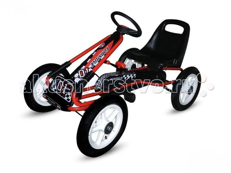 TVL Веломобиль F1Веломобиль F1Веломобиль TVL F1 подходит для гонщиков в возрасте от 4 до 10 лет.   Особенности: Благодаря удобным подвижным креплениям, сидение, по мере роста ребенка, можно передвигать по раме.  Прочный корпус из стальной трубы гарантирует долговечность и износостойкость модели.  Максимальную безопасность во время езды на большой скорости обеспечивает ручной тормоз.  Пневматические резиновые колеса дают максимальный комфорт даже на неасфальтированной дороге.  Оптимальный выбор для подвижного и активного ребенка, который не привык сидеть на месте.<br>