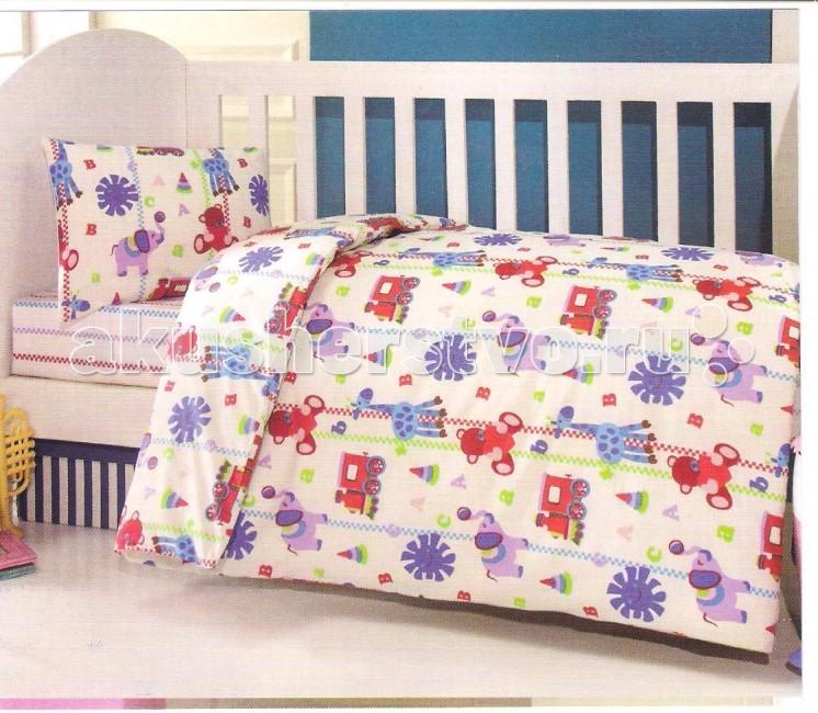 Комплект в кроватку Ups Pups Игрушки (6 предметов)Игрушки (6 предметов)Постельный набор в детскую кроватку Ups Pups Игрушки (6 предметов) состоит из 6 предметов.   Наполнитель 100% Hollofil allerban (антибактериальный, антиклещевой и противогрибковый наполнитель, который заботится о состоянии здоровья малыша).  В комплект входит: пододеяльник (100 х 140 см) одеяло (100 х 140 см) наволочка (40 х 60 см) подушка (40 х 60 см) простынь на резинке (60х120+16 см) бампер - 4 части (360 х 45см).<br>