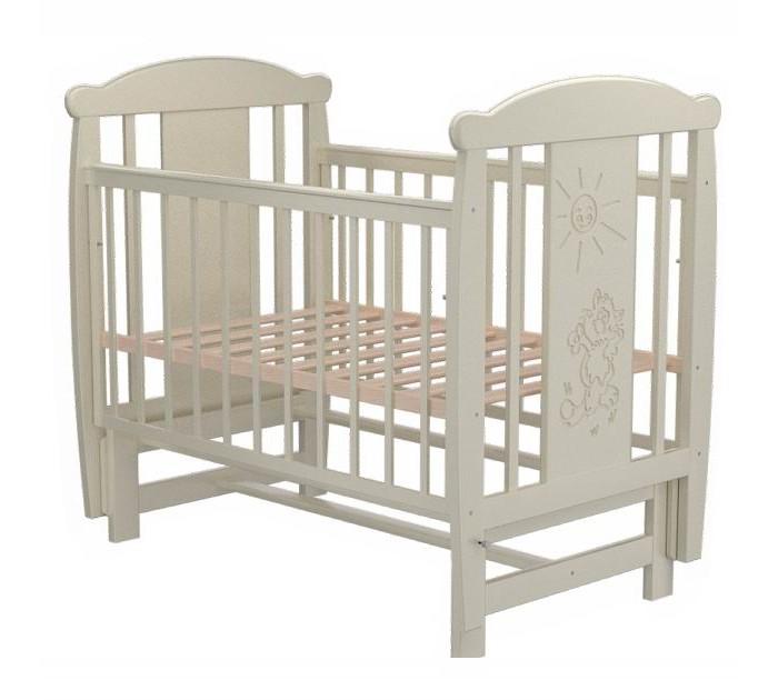 Детская кроватка Valle Cat 04 (маятник поперечный)Cat 04 (маятник поперечный)Удобная и функциональная детская кроватка Valle Cat 04 предназначена для новорожденных детей и используется до 4-5 лет.   Изготовлена на современном оборудовании из натурального экологически чистого массива березы, что обеспечивает прочность и долговечность. Высокое качество отделки. Для окраски применяются лаки, не содержащие вредных для здоровья ребенка веществ. Украшает кроватку декоративная резьба спинки.  Характеристики: Материал: целиковая древесина березы, декоративная вставка МДФ  Основание реечное регулируется по высоте Реечные панели по бокам не препятствуют естественной вентиляции Размер спального места стандартный 120х60, что позволяет легко подбирать постельное белье и матрасы для ребенка Кровать оснащена маятниковым механизмом поперечного качания Фиксатор маятника Передняя стенка опускаемая Отсутствие выступающих углов и неровностей, что обеспечивает безопасность для малыша На спинке кроватки очаровательная резьба - котик  Размер 125х65х118 см.<br>