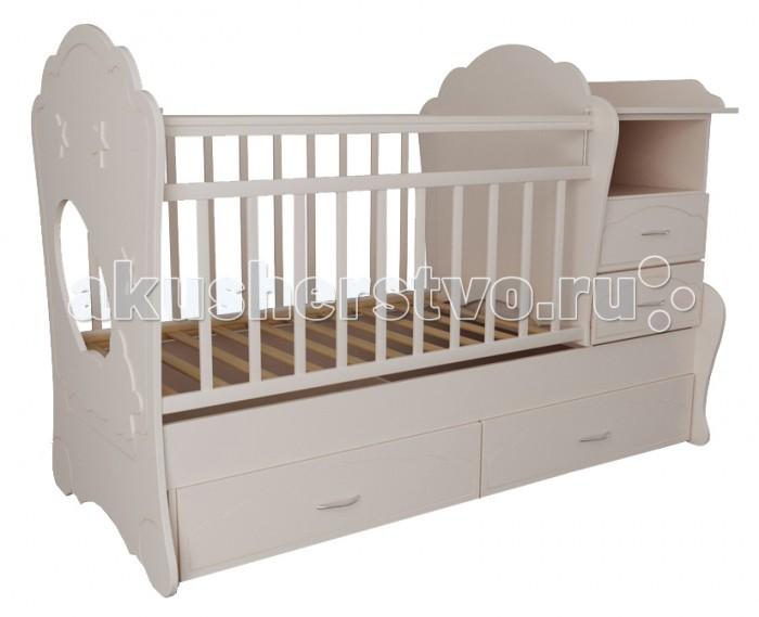 Кроватка-трансформер Valle KaprisKaprisКроватка-трансформер Valle Kapris - это прекрасное решение для длительного использования, которая позволяет адаптировать конструкцию под Вашего малыша с учетом его возраста и роста.  Особенности: Ее многофункциональная конструкция включает кроватку и подростковую кровать. А также пеленальный столик, ящики для одежды, игрушек и постельного белья, нишу для принадлежностей по уходу за малышом. При этом все дополняется эксклюзивной фурнитурой и роскошным дизайном в различных цветовых исполнениях.  Реечное ложе обеспечивает вентиляцию матраса и имеет 2 уровня высоты дна и боковой стенки. Боковинки оснащены защитными накладками.  Пеленальный столик огражден бортиками (размеры: 60х49 см). При этом стол можно использовать и без ящиков, а комод - как отдельную прикроватную тумбочку. Изготовлена из износостойкого материала ламинированного ДСП - экологичного и неаллергенного материала Рекомендована для детей с рождения до 15 лет Все материалы сертифицированы в соответствии с европейскими стандартами безопасности Экономит место и бюджет Вместительная и имеет привлекательный внешний вид Трансформируется в мини-диванчик (с боковым бампером для защиты от падения) Имеет ряд цветовых решений, позволяющий подобрать нужный цвет модели  размер пеленального столика – 60х49 см общий размер – 107х175х68 см<br>
