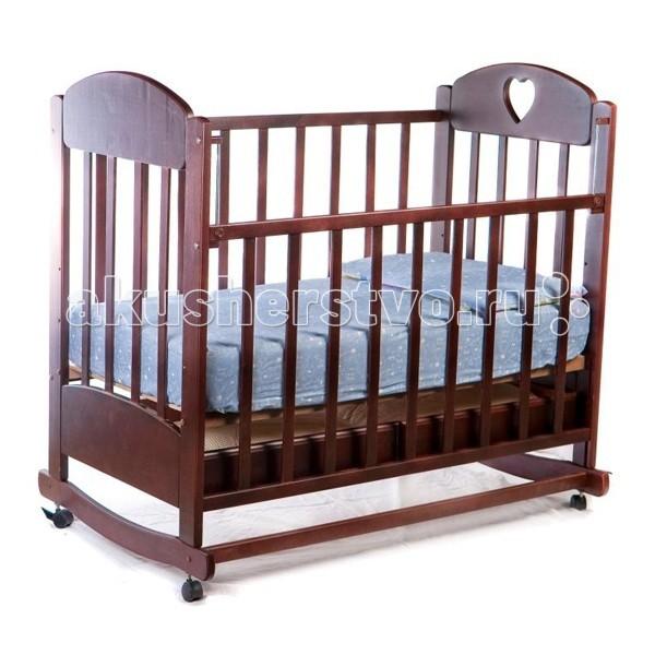 Детская кроватка Ведрусс Иришка №2 качалкаИришка №2 качалкаДетская кроватка Ведрусс Иришка №2 качалка  Изысканный дизайн, отличное качество и приемлемая цена – так можно кратко охарактеризовать детскую кроватку Иришка–2 от российского производителя Ведрусс.   Кровать может использоваться как качалка, а съемные колесики позволят легко перемещать её по квартире. Стенка опускается, что дает возможность родителям проще контактировать с ребенком. Ложе кровати имеет три уровня высоты, а боковые стенки оснащены силиконовыми накладками, что защищает ребенка от травм.  колесо - качалка спальное ложе регулируется по высоте (3 уровня) боковые стенки с силиконовыми накладками «грызунки» вырезанное сердечко у изголовья опускающаяся передняя стенка реечное дно у кровати отсутствуют острые углы выдвижной, открытый ящик для хранения детского белья  Внешние размеры: 126x78 см.<br>