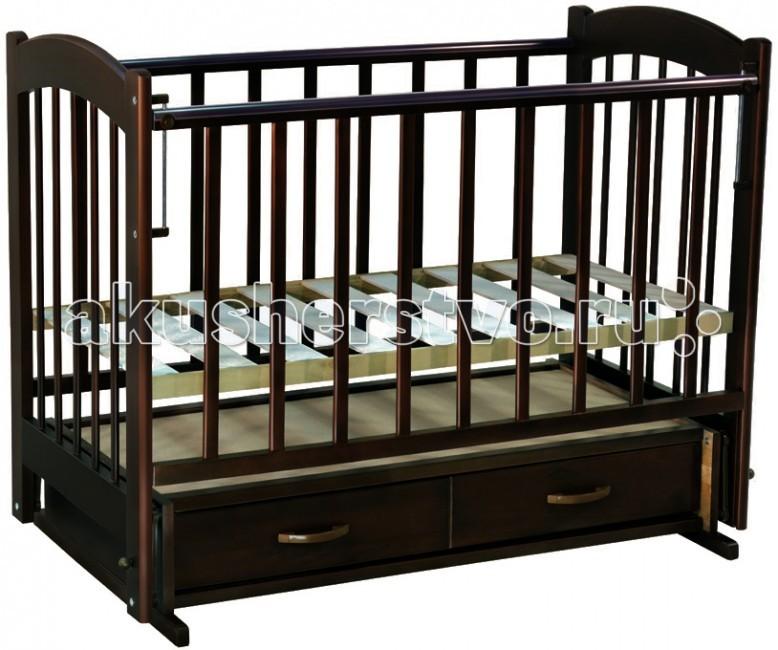 Детская кроватка Ведрусс Радуга №4 (маятник) - Темный Орех