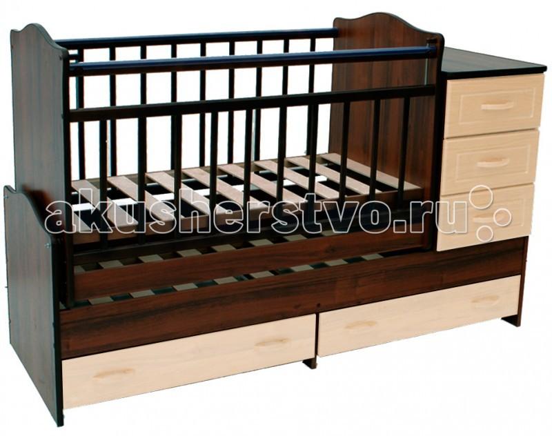 Кроватка-трансформер Ведрусс Раиса с комодом (маятник)