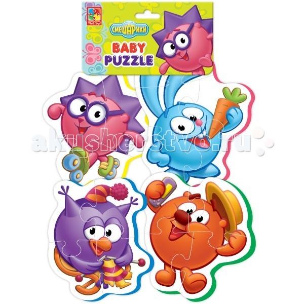 Vladi toys Пазлы мягкие СмешарикиПазлы мягкие СмешарикиVladi toys Пазлы мягкие Смешарики состоят из четырех разных героев.   Особенности: Крупные, объемные, мягкие детали ребенок с удовольствием соберет в целую картинку. Детали плотно прилегают друг к другу и картинка не рассыпается. Каждый пазл состоит из трех-четырех частей, поэтому ребенку будет легко с ним справиться. Толщина 4 мм<br>
