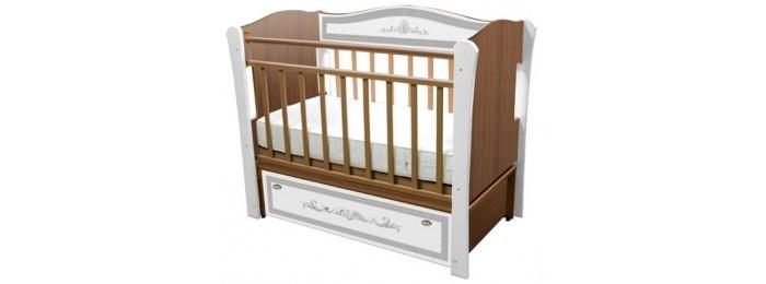 Детская кроватка Влана Меандр (продольный маятник) - Серебро/Орех