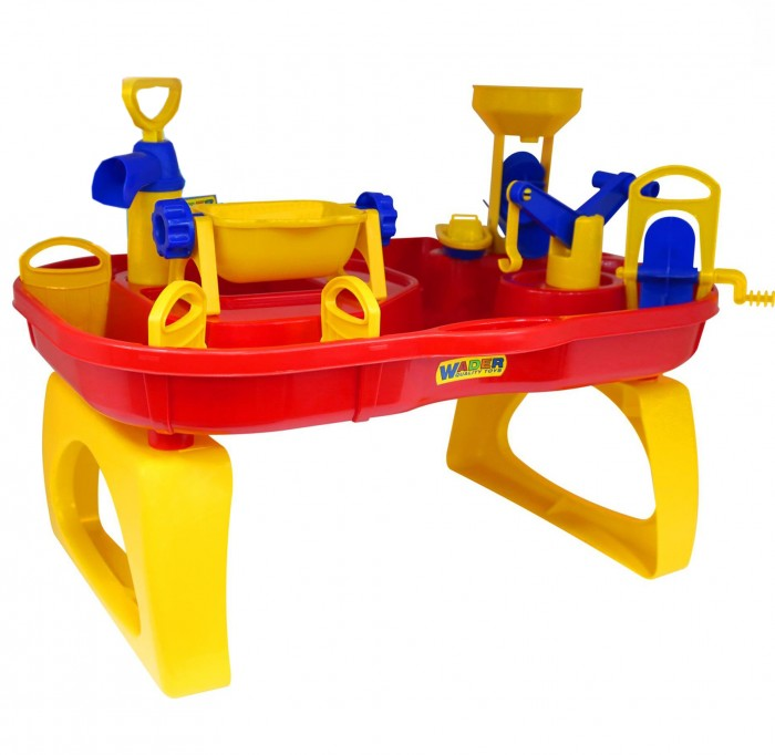 Wader Набор Водный мирНабор Водный мирWader Набор Водный мир - это гениальный стол-бассейн, который способен решать большие задачи в развитии детей. Стол-трансформер -идеальное место для разнообразных игр. Вместе с друзьями Ваши дети могут ставить опыты на воде и наблюдать за результатами. Столик имеет много отсеков, игровую мельницу для воды, через которую вода переливается без перерыва.   Теперь ребенок с удовольствием и удобством будет лепить куличики, строить песочные замки, а налив водичку, станет варить кашку. А если захочется уплыть в открытое море, то можно запустить кораблик. Множественные игровые элементы : мельницы, насос, заслонки в канавках, подъемный кран и др. надолго займут Вашего малыша! Ребенок будет увлечен игрой как дома и на даче, так и на берегу моря или реки.   Особенности: Стол Водный мир 3 можно установить как на улице, так и в любой комнате. Простой монтаж. Все детали выполнены из качественной пластмассы.  Идеальный европейский пластик, не подверженный выгоранию на солнце и деформации от перепада температур.  Кроме пользы от развлечений и игры, этот необычный стол способен решать серьезные воспитательные задачи, развивает много хороших качеств: дружелюбие, заботу, внимательность, ответственность, смелость, терпение и увлеченность. Малыши будут учиться взаимодействовать друг с другом и приобретут навыки игры в коллективе.  Украсит любую дачу и станет любимым местом для игр Вашего ребенка и его друзей.  Рекомендуем устанавливать на ровной устойчивой поверхности. Замечательный яркий столик с отделениями на столешнице очень функционален, подходит для веселой игры с песком и водой.  Удобная столешница с рядом углублений - это отличное поле для творчества и игр на свежем воздухе.  Материал: высококачественный упрочненный пластик.  В производстве используются безопасные материалы.  Пластик не деформируется и не выгорает под солнцем.  Рекомендуется для детей от 1-2 лет.<br>