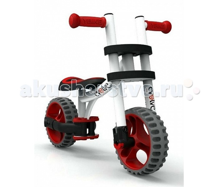 Беговел Y-Bike Evolve TrikeEvolve TrikeБеговел Y-Bike Evolve Trike с удивительной трансформацией -покупая одно транспортное средство, Вы получаете сразу 3. И все-на больших проходимых резиновых колесах.  Особенности: Беговел на 2 одиночных колесах Беговел на 3 колесах: 2 сдвоенные задние колеса, 1 переднее колесо. Трехколесный велосипед с педалями Алюминиевая рама Сиденье меняется по высоте в 3-х положениях Съемные педали Мягкие резиновые ручки Эргономичное сиденье с отверстием для переноски Резиновые колеса, созданные по новейшей технологии. Уникальная технология двойного вспрыскивания колеса-в жесткое шасси колеса помещают мягкий материал TPR-термо-пластичный каучук. За счет этого колесо не сдувается, не прокалывается,имеет мягкий и бесшумный ход Настоящая находка для мам, которые хотят чтобы их дети активно развивались Настоящая находка для маленьких непосед Малыш может пользоваться 3-мя разными транспортными средствами  Размеры: 53 х 48 х 78 см<br>