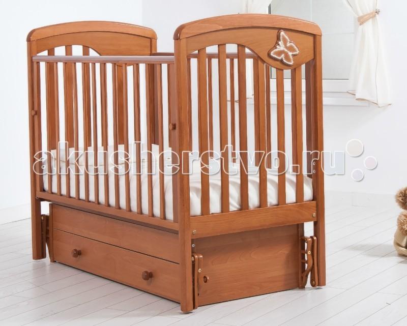 Детская кроватка Гандылян Джулия Бабочка (универсальный маятник) - Вишня