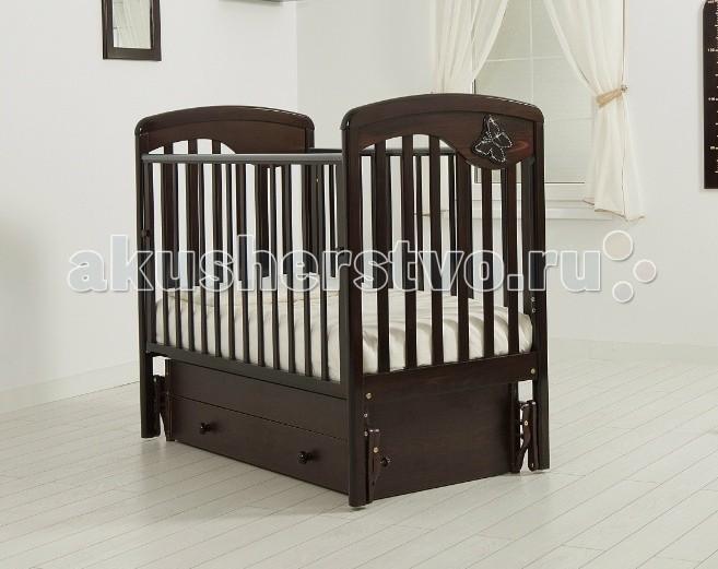 Детская кроватка Гандылян Джулия Бабочка (универсальный маятник) - Махагон