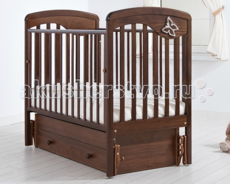 Детская кроватка Гандылян Джулия Бабочка (универсальный маятник) - Орех